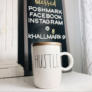 Rae Dunn { Hustle } Ceramic Travel Coffee Mug NWT